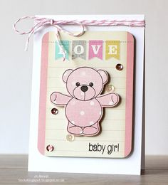 Here I am, back again with Teaser Day 2 of the Clearly Besotted Stamps July New Release. Today I have a couple of cuties to show you. Baby Girl Cards, 2nd Baby, Kids Cards, Bear Hugs, Teaser, Note Cards, Silhouettes, Craft Projects, Card Making