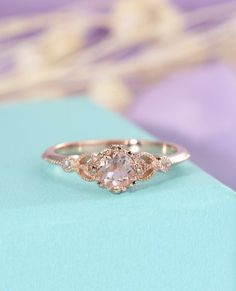 Morganite ring Unique engagement ring Rose gold Vintage Antique Art deco Halo diamond wedding Flower Bridal Jewelry Promise Gift for women  ❀ CUSTOM ORDER ❀ RUSH ORDER ❀ INSTALLMENT PLAN ❀ ENGRAVING ❀ 7 DAYS RETURN <><><><><><><><><><><><><><><> ≫≫ Item Details ❀❀❀ Made to Order, All