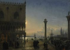 Friedrich Nerly, el Viejo 1871 Piazza San Marco in Venice at the moonlight Venice Painting, Baroque Painting, Spanish Painters, Italian Painters, James Holland, Carl Friedrich, Grand Canal Venice, Moonlight Painting, Visit Venice