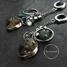 earrings (raw sterling silver, afgan glass, baltic amber, labradorite) http://formood.com/