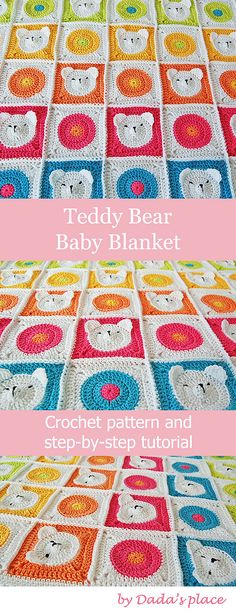 Crochet Granny Square Blankets The cutest teddy bear crochet baby blanket ever! The pattern for these cute crochet animal granny square blanket is very detailed, with lots of step-by-step pictures suitable even for beginners in crochet! Crochet Granny Square Beginner, Sunburst Granny Square, Granny Square Blanket, Granny Square Crochet Pattern, Granny Squares, Beginner Crochet, Baby Afghan Crochet, Crochet Teddy, Crochet Blanket Patterns
