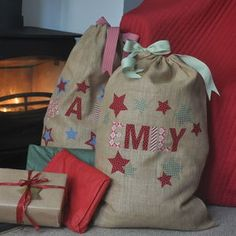 Personalised Christmas Hessian Sack Kit - stockings & sacks