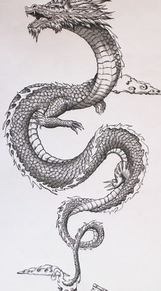Chinese Tattoo Designs, Dragon Tattoo Designs, Japanese Dragon Tattoos, Japanese Sleeve Tattoos, Tribal Dragon, Tatoo Bird, Engel Tattoo, Dragon Tattoo For Women, Tattoo Style