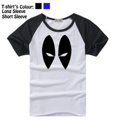Fashion Deadpool Marvel DC Comics Eyes Design Pattern Long Short Sleeves T-Shirt Men's Boy's Tee Tops Black or Blue Sleeves //Price: $US $12.54 & FREE Shipping //     #cosplay