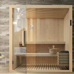 Sauna in wood Kyra Hafro Geromin Saunas, Diy Sauna, Sauna Steam Room, Sauna Room, Sauna Design, Loft Design, Jacuzzi, Home Spa Room, Outdoor Sauna