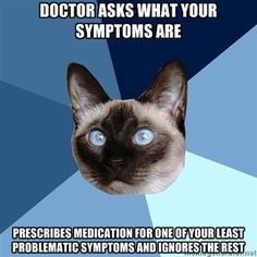Chronic Illness Cat - doctor asks what your symptoms are prescribes medication for one of your least problematic symptoms and ignores the rest