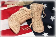 Crochet army boots combat boots military boots by TheJellyBoutique, $23.00...so he can match daddy :)