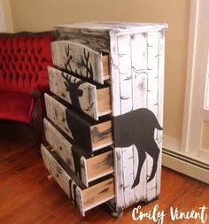 Sweetly Scrapped Home: Birch Tree Dresser with Buck (Deer) Wrapped Around - Baby - Baby Ideas