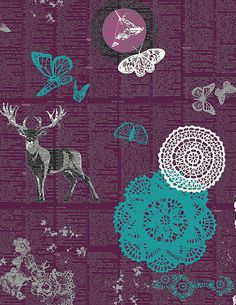 IDL-1223 Doiland Gloss Plum Indelible fabric collection by Katarina Roccella x Art Gallery fabrics, available June 2014