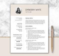 Elegant Resume With Photo  Cover Letter Design  Cv Template