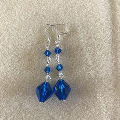 Stunning Blue Swarovski Drop Earrings by BlissfulBeauty15 on Etsy