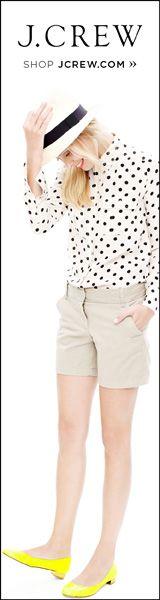 Todays Coveted Working Look: Blythe Blouse Chicwish Skirt, Polka Dot Shirt, Polka Dots, Work Looks, Khaki Shorts, Spring Summer Fashion, Scrubs, Style Me, J Crew