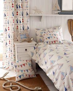 Fryetts fabric regatta seaside beach huts bunting maritime novelty