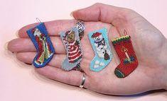 Miniature needlepoint Christmas Stocking. www.dollshousemag.co.uk