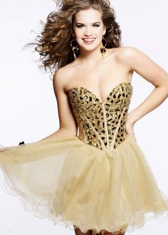 Short Strapless Gold Sequin Top Layered Prom Dress By Sherri Hill