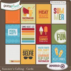 Summer's Calling - Cards :: Gotta Pixel Digital Scrapbook Store by Aprilisa Designs $2.50