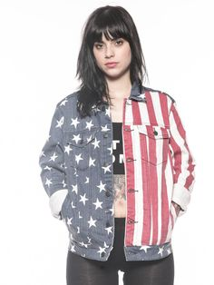 Detail of American Spirit unisex jacket blue with stars on right; red and white stripes on left.