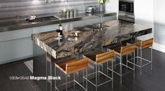 Formica 180fx 3548 Magma Black features cascading rivers of gold, gray and rust, highlighted by pure white crystals.