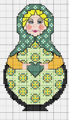 gazette94: MATRIOSHKA Cross Stitch Charts, Cross Stitch Designs, Cross Stitch Patterns, Matryoshka Doll, Kokeshi Dolls, Hello Kitty, Cross Stitching, Cross Stitch Embroidery, Crochet Pixel
