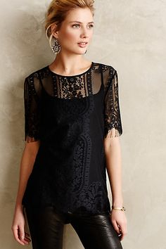 at Anthropologie Fringed Lace Tee Look Fashion, Autumn Fashion, Womens Fashion, Mode Style, Style Me, Anthropologie Clothing, Look Retro, Lace Tee, Dress Me Up