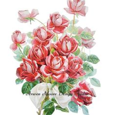 Beautiful Vintage Chic Shabby Red Roses Spray by ArwenMooreDesigns, $10.99