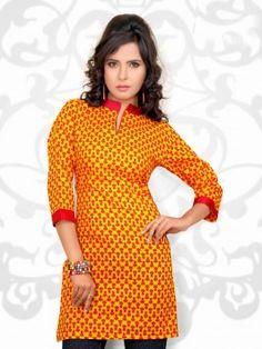 Yellow And Red Printed Cotton Kurti
