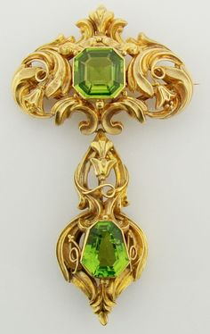 Victorian peridot and gold brooch, part of a suite, circa 1870