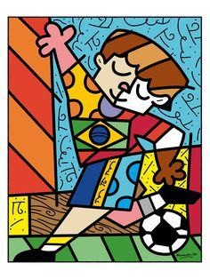 I Love Soccer by Romero Britto (Framed) by McGaw Graphics at Gilt Drawing For Kids, Art For Kids, Brazil Art, Soccer Art, Glass Painting Designs, Tableau Design, Painting Templates, Cubism Art, Naive Art