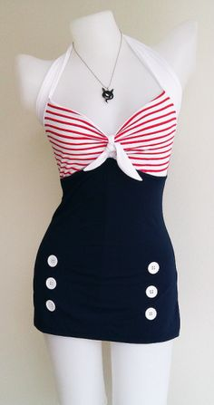 vintage style swimsuit via beauty chic shop from etsy