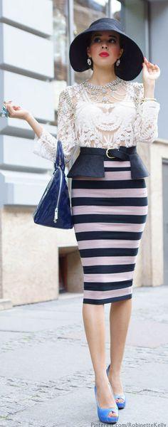 Fab outfit ~ Macademian Girl #fashion, #stripes, #blackandwhite