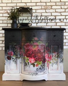 Beauty Evolves From Darkness Repurposed Furniture Beauty Darkness Evolves Black Painted Furniture, Floral Furniture, Decoupage Furniture, Funky Furniture, Refurbished Furniture, Paint Furniture, Repurposed Furniture, Shabby Chic Furniture, Furniture Projects