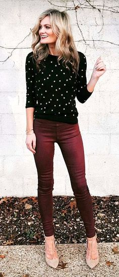 e62c078655 women s black and white long sleeve top with maroon skinny pants Beige