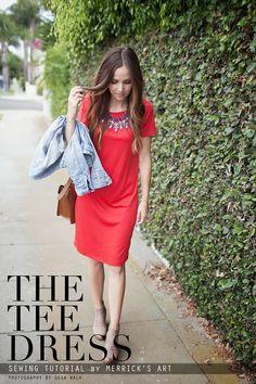 Merrick'S art // style + sewing for the everyday girl: the tee dress ( tutorial) Shirt Dress Tutorials, Dress Sewing Tutorials, Sewing Projects, Diy Clothing, Clothing Patterns, Dress Patterns, Sewing Patterns, Robe Diy, Diy Vetement