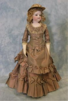 "Antique c1870 14"" Simonne French Fashion Doll Factory Wig & Stamped Body"