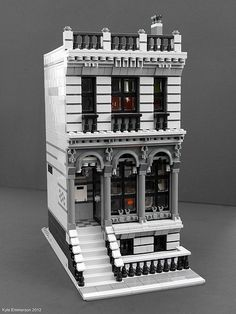 Clickit Graphic Design Office - Modular Townhouse (by saturns-stingray) Lego Office, Lego Village, Lego Modular, Modular Office, Lego Boards, Lego Design, Modular Design, Lego Room, Cool Lego Creations