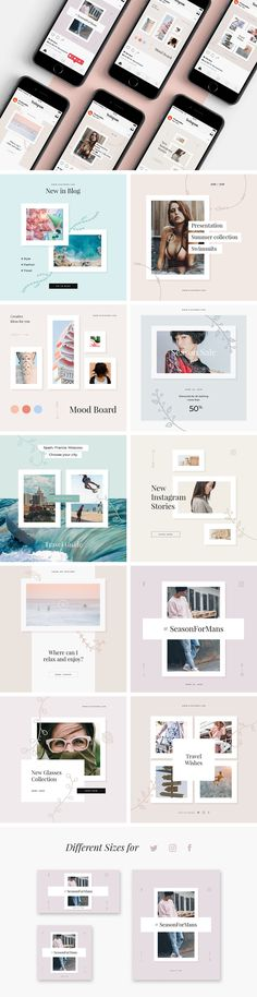 Present images in a beneficial light with the easy-to-edit Elly templates in pastel colors, which are an essential tool if you want your posts to be engaging and ultimately convincing. Social Media Template, Social Media Design, Instagram Story Template, Instagram Templates, Banner Design Inspiration, Story Inspiration, Instagram Promotion, Blog Design, Ux Design