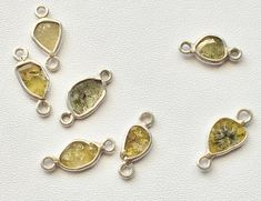 4 Pieces Yellow Slice Rough Diamond Connector by gemsforjewels