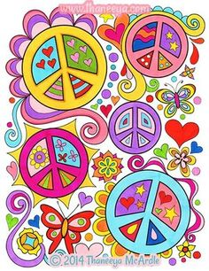 The Peace and Love Coloring Book features 30 groovy illustrations to celebrate your inner hippie. Peace signs, flowers, rainbows, owls, lava lamps and more! Hippie Peace, Happy Hippie, Hippie Love, Hippie Art, Peace Sign Drawing, Peace Sign Art, Peace Signs, Peace Love Happiness, Peace And Love