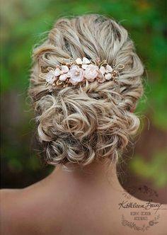 R830 Rose gold Hair comb hairpiece blush pink - wedding bridal hair - veil comb - gold