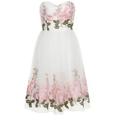 Chi Chi London Floral midi dress ($44) ❤ liked on Polyvore featuring dresses, vestido, clearance, white, white midi dress, midi prom dress, floral embroidered dress, pastel dresses and floral dresses
