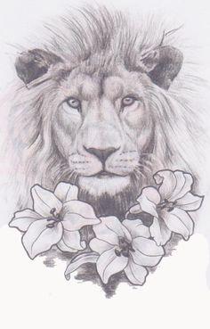 Lion And Lily Tattoo - Tattoospedia Leo Tattoos, Future Tattoos, Body Art Tattoos, Tattos, Tattoos For Women On Thigh, Tattoos For Women Half Sleeve, Half Sleeve Women, Tattoos Mandala, Flower Tattoos