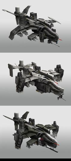 Gunships by StTheo on DeviantArt Spaceship Art, Spaceship Design, Concept Ships, Concept Cars, Cyberpunk, Starship Concept, Future Weapons, Sci Fi Ships, Sci Fi Weapons