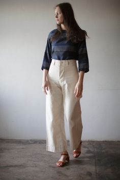 Jesse kamm sailor pant in natural beautiful dreamers fashion runway Cute Skirt Outfits, Cute Skirts, Simple Outfits, Daily Fashion, Everyday Fashion, Female Fashion, Jesse Kamm Sailor Pant, Runway Fashion, Fashion Outfits