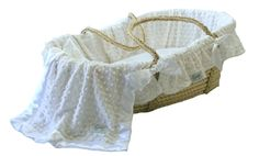 White Minky Dot Bedding with Moses Basket by Baby Gifts N Treasures.com