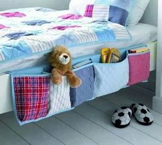 Bed side tidy easy to make n could be doublr sided so hangs over both edges.