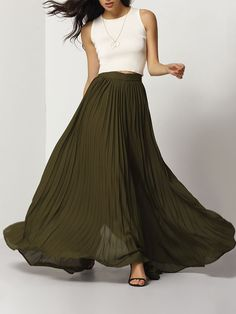Beautiful skirt, is that a good reason enough to dance? #Armygreen #Pleated #Maxiskirt