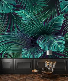 Tropic leaves the mural painting of monstera. Cor to the house. The removable wallpaper, stick. Painting Wallpaper, Mural Painting, Wall Wallpaper, Design 3d, Home Decoracion, Still Life Flowers, Wall Decor Stickers, Floral Wall, Peel And Stick Wallpaper