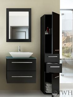 "The 24"" Carina Single Wall-Mounted Vanity is made from highly durable natural oak, so it will stand the test of time and look good doing it! The vanity provides ample #storage space within a sliding drawer, which feature a built-in soft-close system to prevent superficial damages and keep the drawer sliding smoothly. The steel handles are attractive accents on the vanity's face. The ceramic basin is mounted above the countertop to clear up space within the vanity. MSRP $898.50"