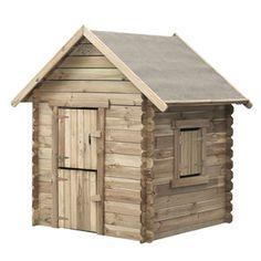 Speelhuisje Louise is uitgerust met dak, deur en een raam. Het dak is overtrokken met dakleer en het huisje heeft geen ondergrond.