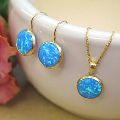 Opal earrings real gold earrings blue earrings gold drop opal necklace opal gold necklace opal jewelry gold opal necklace gold mozeypictures Gallery